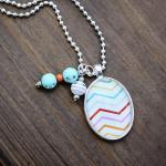 Rainbow Chevron Glass Pendant Neckl..