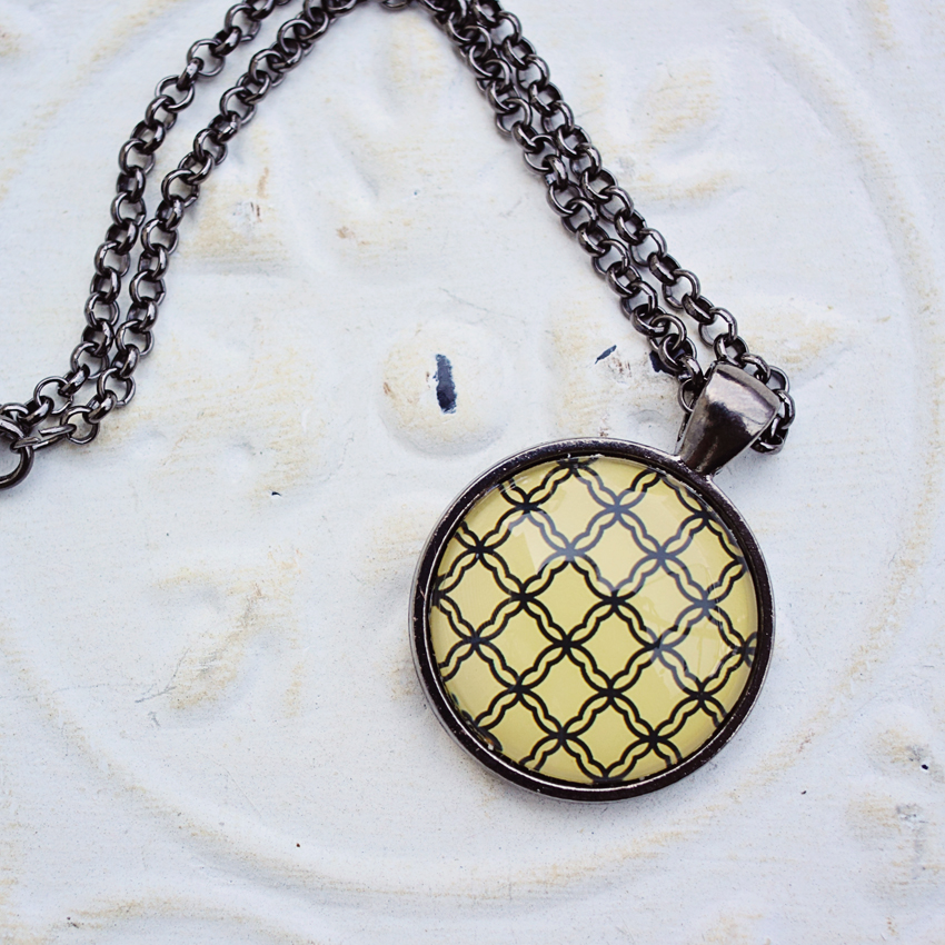 Yellow and Black Glass Pendant Necklace