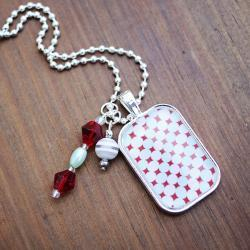 Aqua/Red Dot Pendant Necklace