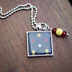 Navy Blue w/Yellow and Red Polka Dots Necklace